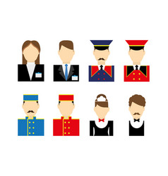 Variety hotel jobs icon set pack design vector