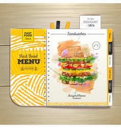 Vintage watercolor fast food menu Sandwich sketch vector