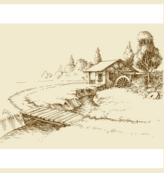 Water mill landscape small river and wooden vector