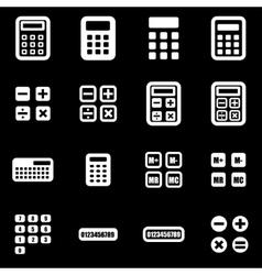white calculator icon set vector image