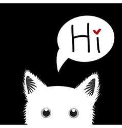 White Cat Sneaking Greeting Card vector