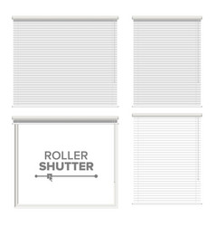 window with rolling shutters opened and vector image