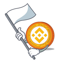 With flag binance coin mascot catoon vector