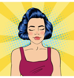 Woman with Closed Eyes Meditating Girl Relaxed vector