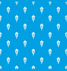 wooden birdhouse pattern seamless blue vector image