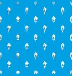 wooden birdhouse pattern seamless blue vector image