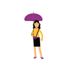 young brunette woman standing under purple vector image