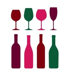 colorful wine bottle and glass set vector image