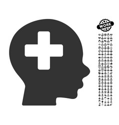 head medicine icon with work bonus vector image