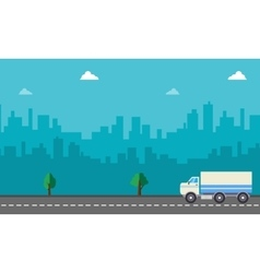 Landscape of delivery truck with city backgrounds vector image