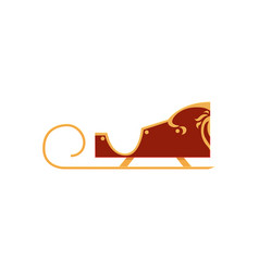 red colored decorated santa sleigh christmas icon vector image