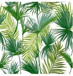 tropical palm leaves seamless floral pattern vector image