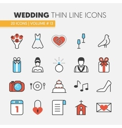 Wedding Party Thin Line Icons Set vector image vector image