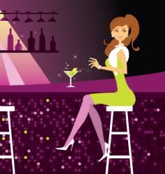 woman at the bar vector image vector image