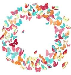 Butterfly frame wreath design element retro vector