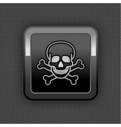 skull chrome button vector image vector image