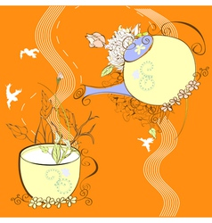 decorative background with cup and teapot vector image vector image