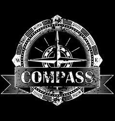 drawing of a compass on a black background vector image