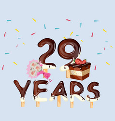 happy birthday card with number twenty nine vector image vector image