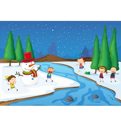 kids and a snowman vector image vector image