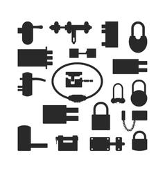 Lock icons set black silhouette vector image