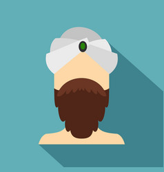 man with beard and mustache wearing turban icon vector image