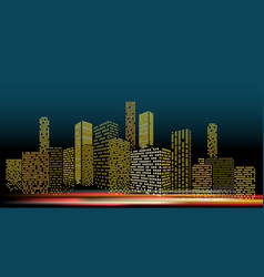 modern cityscape in the evening city buildings vector image