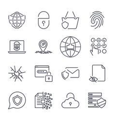 set of 16 internet security icons concept of vector image