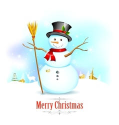 Snowman with broom in Christmas Background vector image