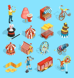 Travel Circus Isometric Icons Set vector image vector image