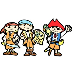 Children in Pirate Costumes vector image vector image