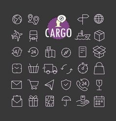 different cargo icons collection web and mobile vector image vector image