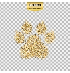 Gold glitter icon of animal footprint vector