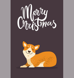 merry christmas and calm dog vector image vector image