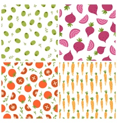 Mixed vegetables seamless patterns set 2 vector