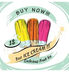 set Fruit Ice with price Popsicle on a white vector image vector image
