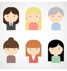 Set of colorful female faces icons vector image