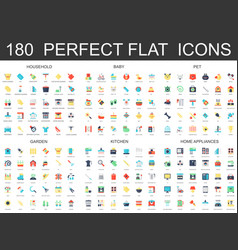 180 modern flat icons set of household baby pet vector