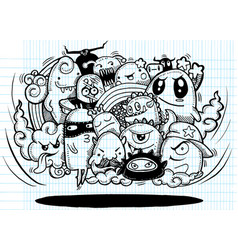 Angry cartoon monsterhand drawn crazy doodle vector