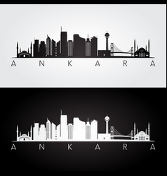 Ankara skyline and landmarks silhouette vector