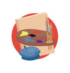 artist profession icon artists supplies cartoon vector image