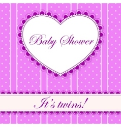 Baby shower with heart banner twins vector