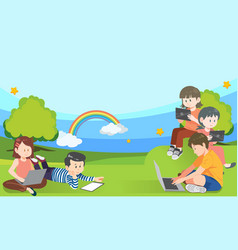 banner with primary school kids useing tablet vector image