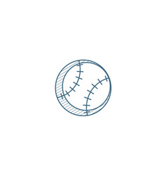 Baseball ball isometric icon 3d line art vector