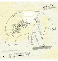 bear on grunge background vector image
