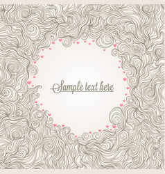 Beige frame with hearts vector