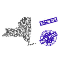 best service collage of map of new york state and vector image