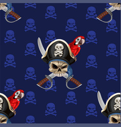 blue seamless background wirh jolly roger in hat vector image