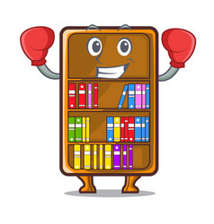 Boxing mascot bookcase beside the study desk vector