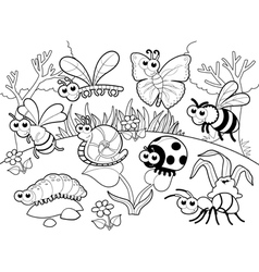 Bugs 1 snail with background in blach and white vector image